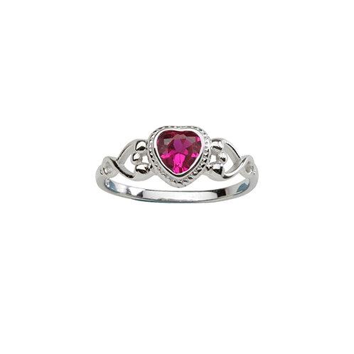 Sterling Silver Heart Birthstone Ring July
