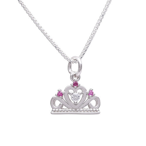 Sterling Silver Princess Tiara Necklace