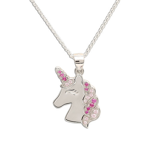 Sterling Silver Pink Unicorn Necklace