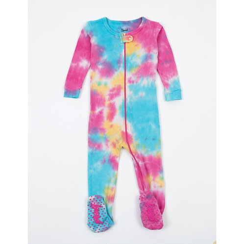 Footed Retro Tie Dye Pajamas to Match Big Sister