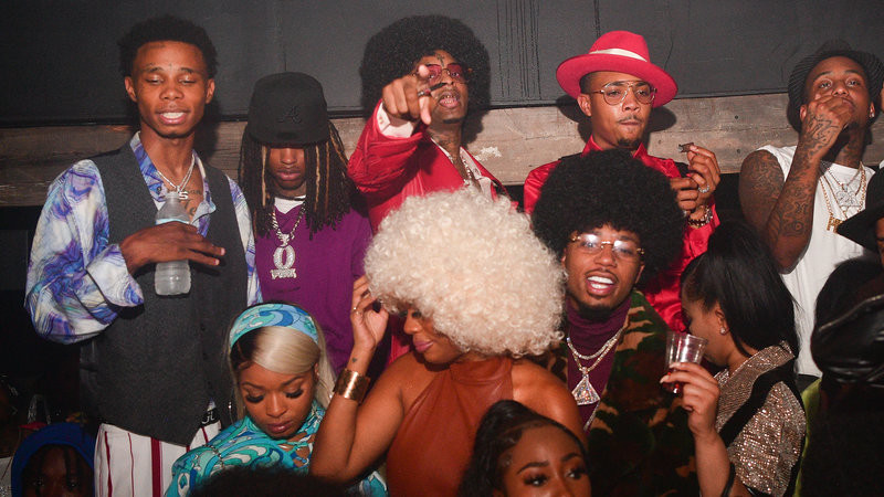 King Von (back row, second from left) pictured with 21 Savage, G Herbo and Metro Boomin, photographed at a '70s-themed birthday party for 21 Savage on Oct. 21, 2020 in Atlanta, GA. Prince Williams/WireImage