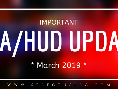 FHA Requirement Updates: March 2019