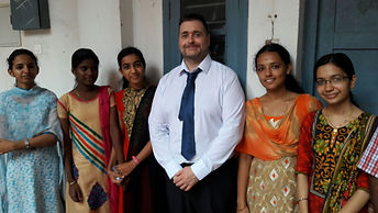 Dr Terry McIvor with Indian students