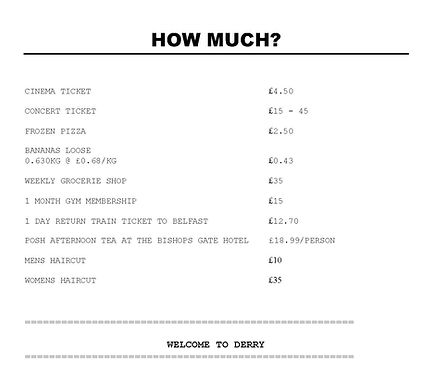 receipt, how much things cost in derry