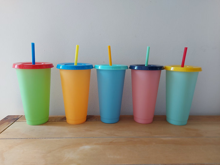 Set of 5 - 24oz Colour Changing Cold Cups