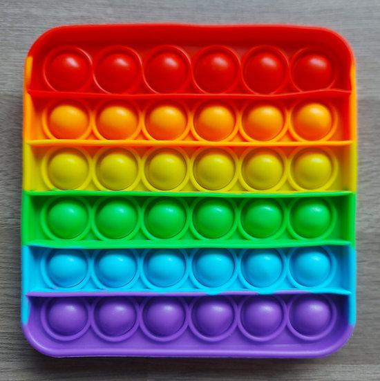 Multi-coloured square fidget popper