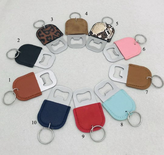 PU leather bottle opener stainless steel keychain