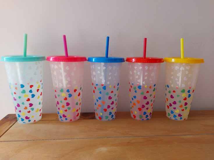 24oz Colour Changing Heart Cups