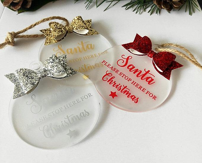 PRE-ORDER - Glitter Bow Blank Acrylic Christmas Ornament