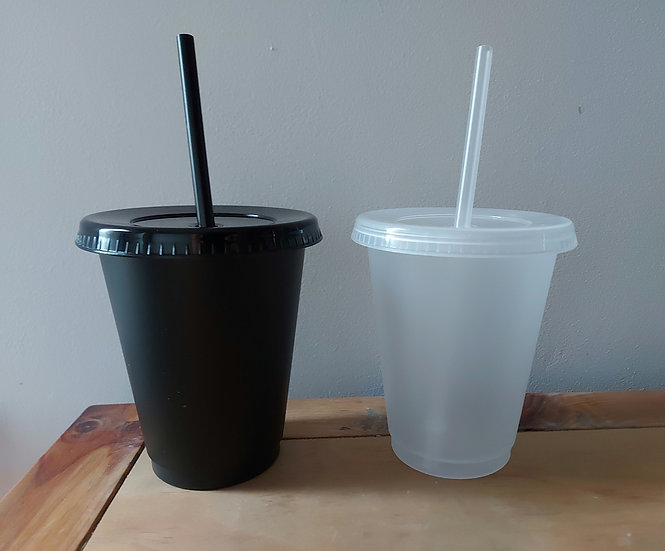 16oz Clear & Black Cold Cups