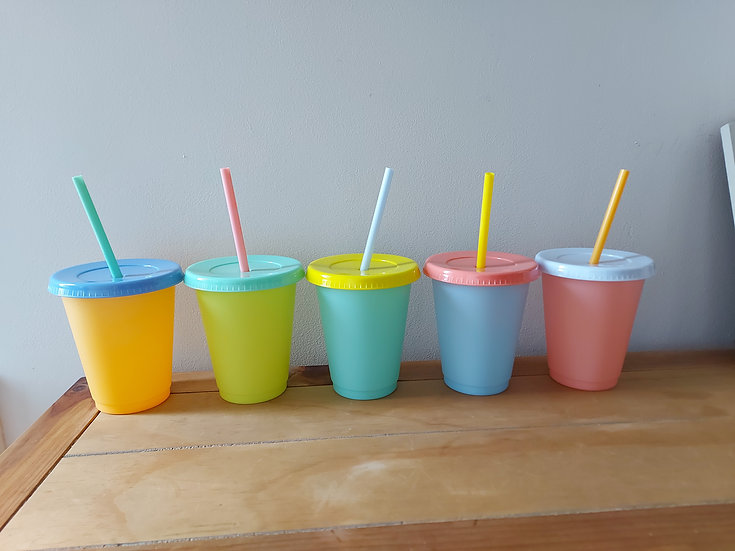 Set of 5 - 16oz Colour Changing Cold Cups