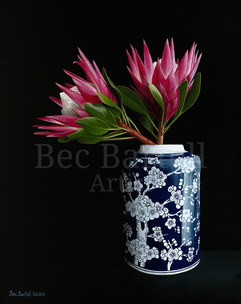 Protea in Blue Vase
