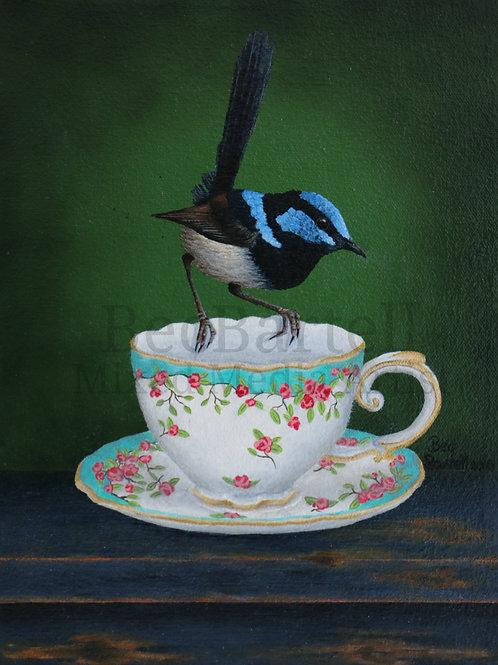 Blue Tea Mini Poster Print