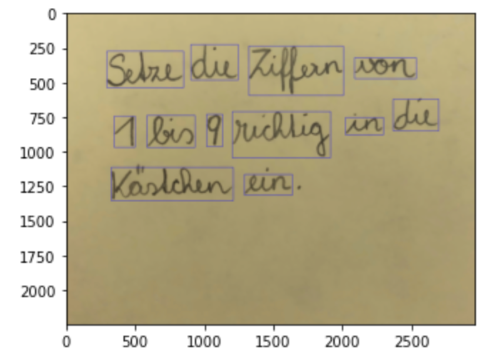 Word Segmentation of handwriting text using OpenCV