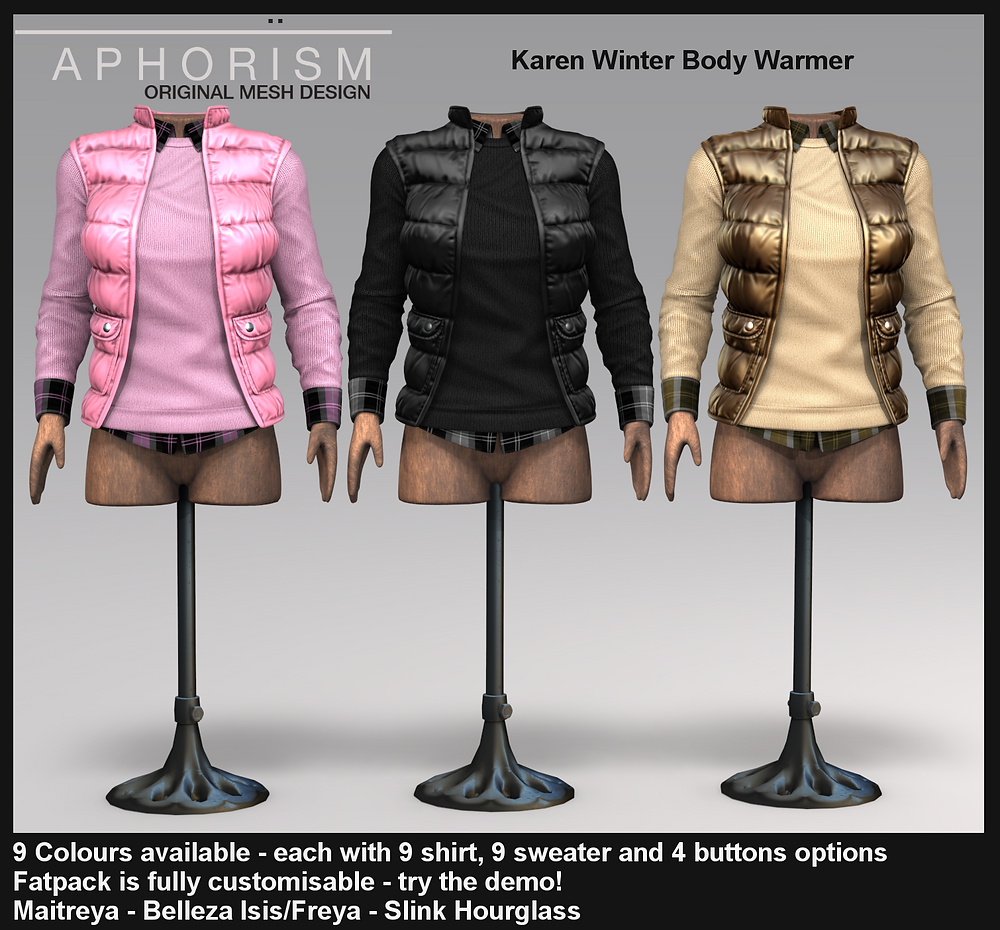aphorism karen body warmer second life