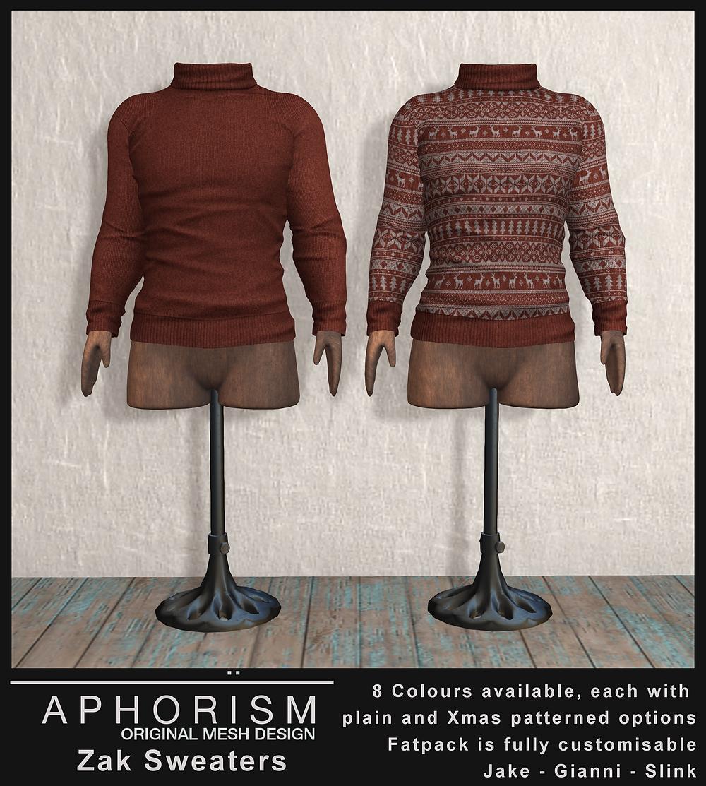Aphorism Zak Sweater Second Life