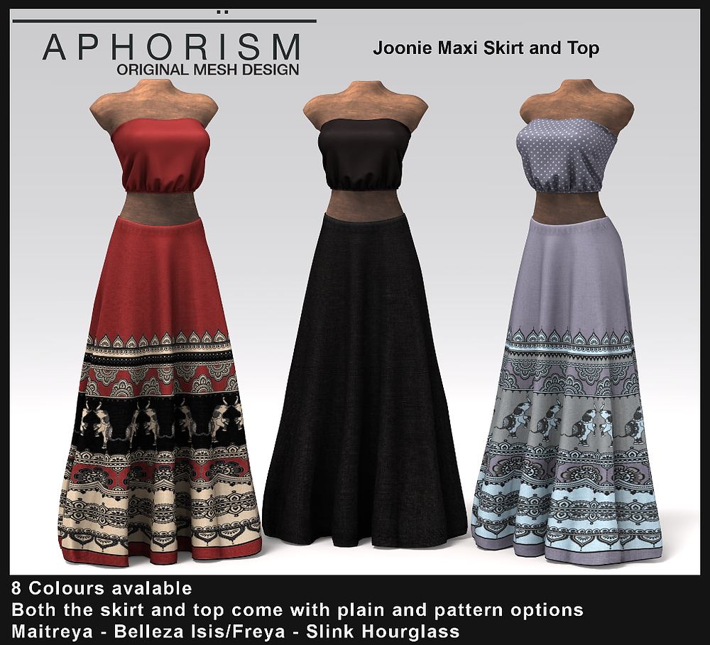 aphorism joonie skirt and top second life