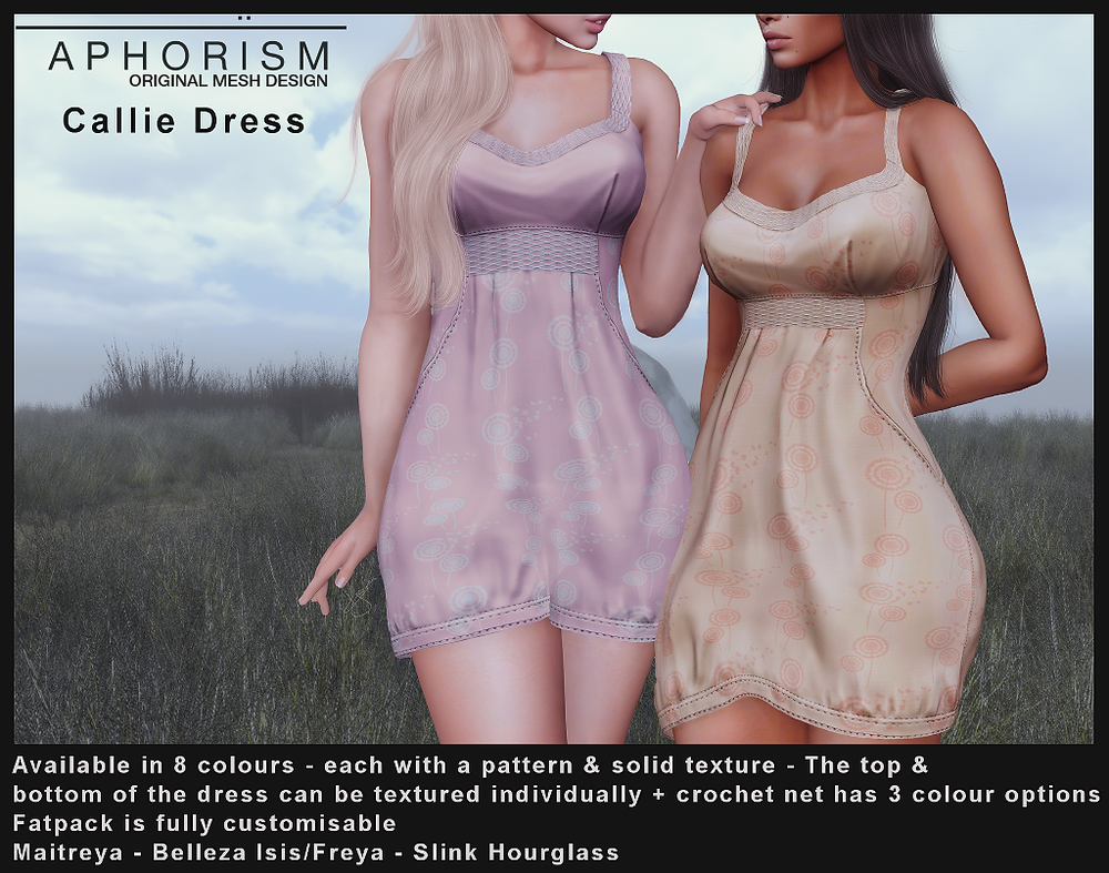 aphorism callie dress second life