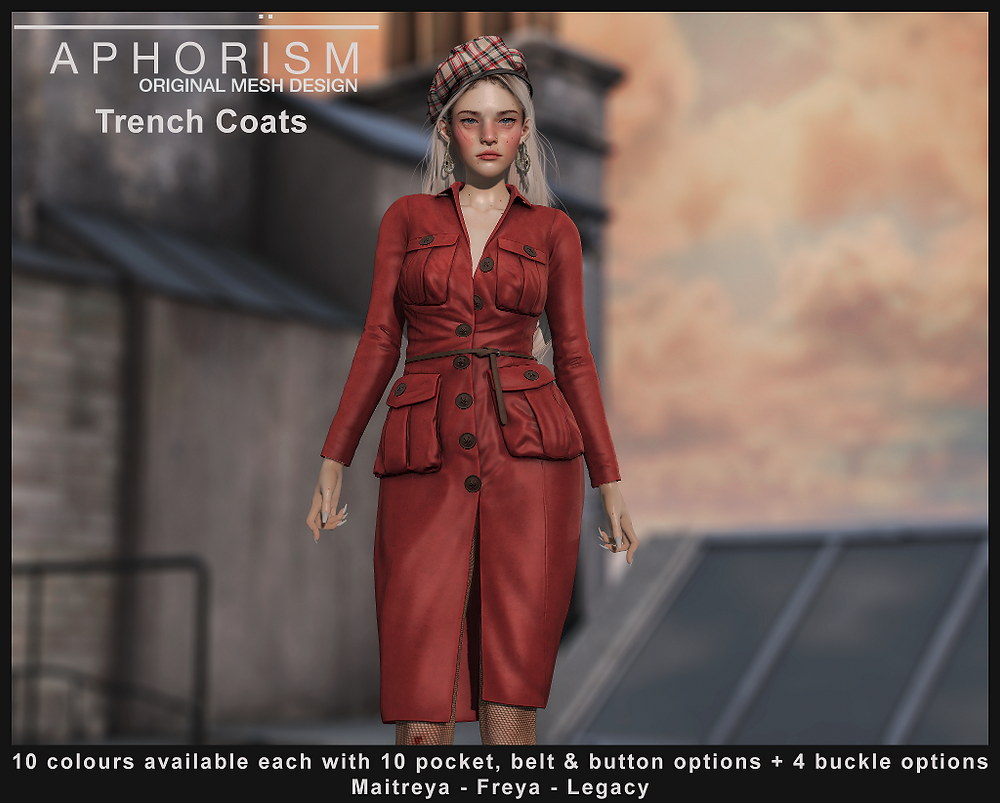 !APHORISM! Trench Coat Second Life
