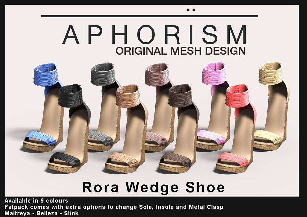 Aphorism Rora Wedge Shoe Second Life