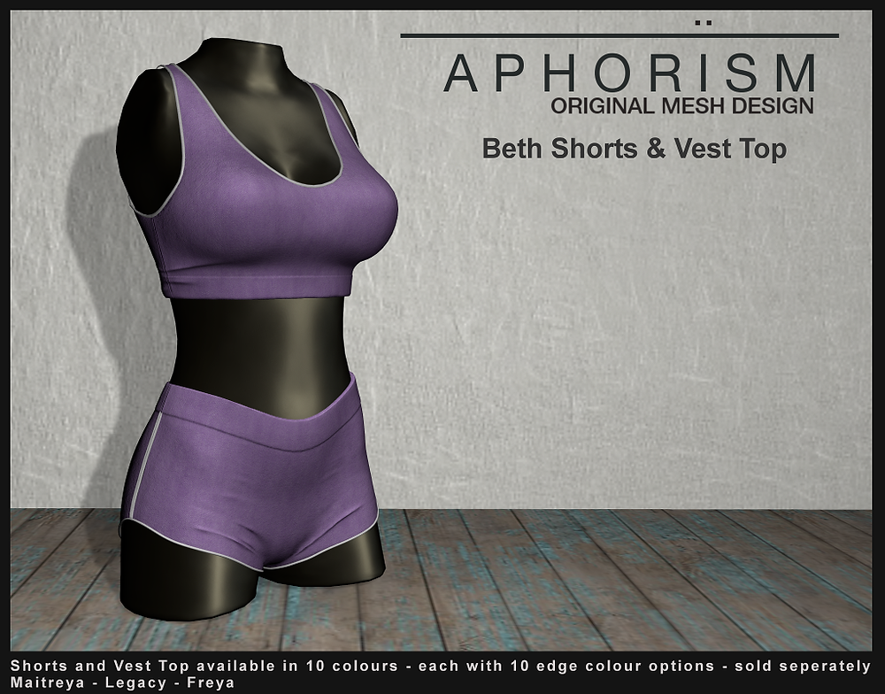 !APHORISM! Beth Shorts and Vest Top - Second Life