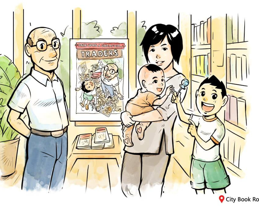 Aloy & Grandpa at City Book Room, with Waln Ching and her baby.