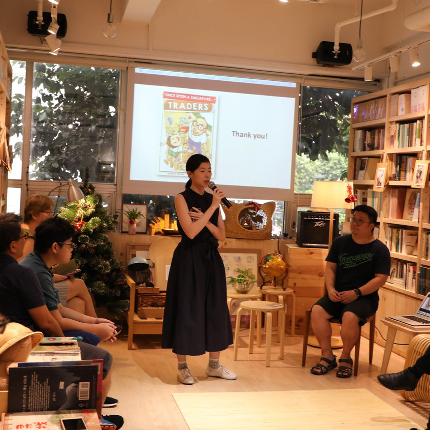 Once Upon A Singapore... Traders, sharing session at City Book Room. LingYing from Asiapac Books