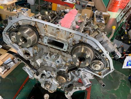 スカイラインCPV35エンジン載せ替えラジエター交換