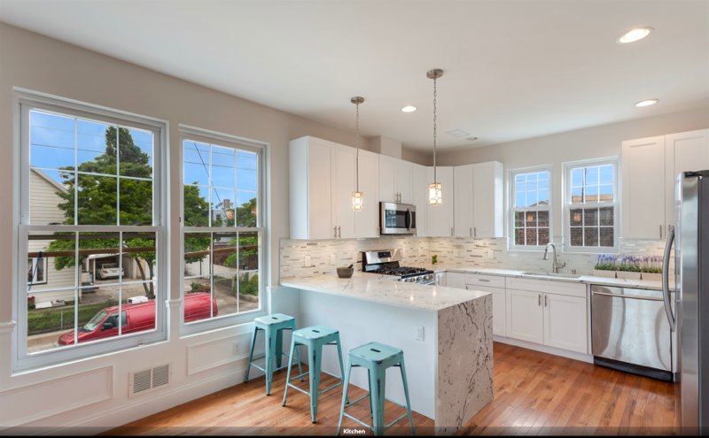 274-276 Lembeck Ave, Jersey City Kitchen with Waterfall Countertop