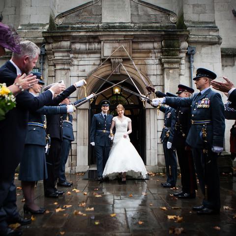 Military wedding saber arch