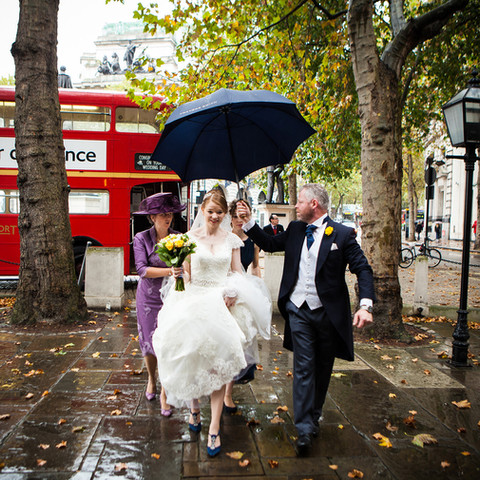 Bride's arrival at wedding