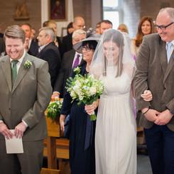 Bride approaching groom