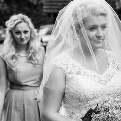 Bride and bridesmaid's arrival