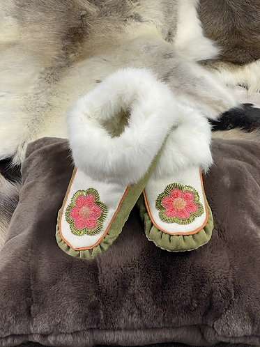 Floral Raised Beaded Moccasins