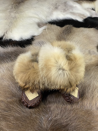 Coyote Fur Leather Moccasins