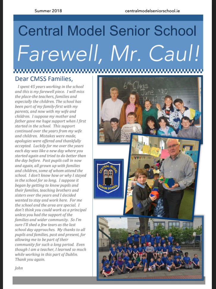 The School would like to wish Mr Caul a very happy retirement. After 45 years working at Central Model Senior School he will be a huge loss to the school and the local community. We hope that he and his families enjoy new beginnings and exciting adventures in the future. Good luck Mr Caul, we will all miss you!