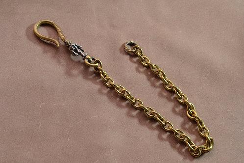 Peace Apple Brass&Silver Wallet Chain