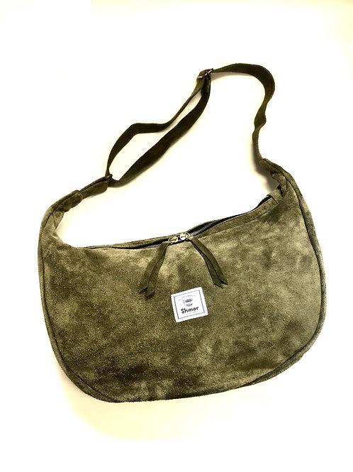 Suede Half-moon Shoulder Bag Olive (Desert)