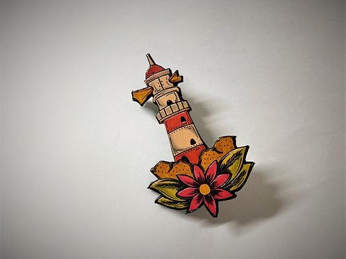 グラフィック レザー・ピンバッジ(灯台)