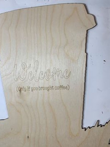 Coffee Doorhanger - Pre-cut and Lettered woodblank
