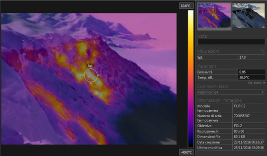 Thermal analysis of the fumarolised flank of Mt. Rittman, in order to identify the most promising areas for geochemical sampling.
