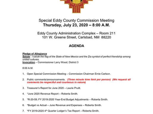 Special Eddy County Commission Meeting