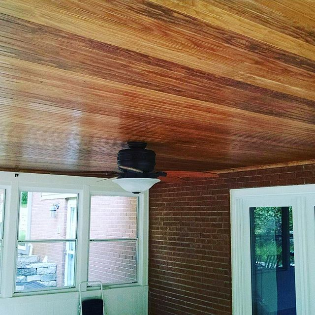 Tongue and groove wood ceiling we installed for a customer to breath new life into there three seaso