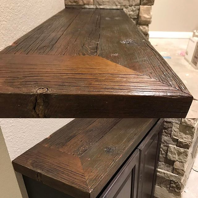 Reclaimed barn rafters into countertops turned out pretty good!