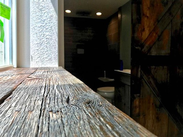Reclaimed barn rafters into window sill