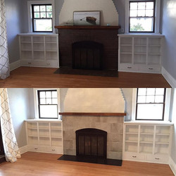Fireplace transformation! #fireplace #fireplacedesign #tileporn #tiledesign #transformation