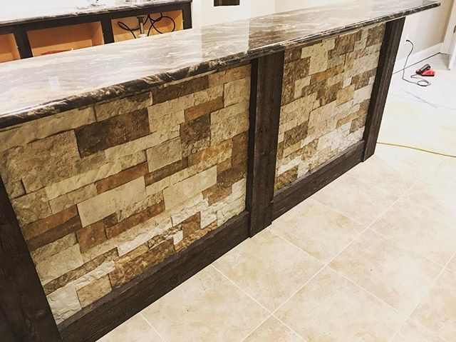Stone work is complete on this new bar