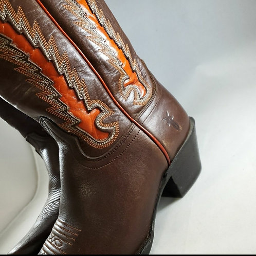 Frye brown leather boots with a bold orange patent! Size 8