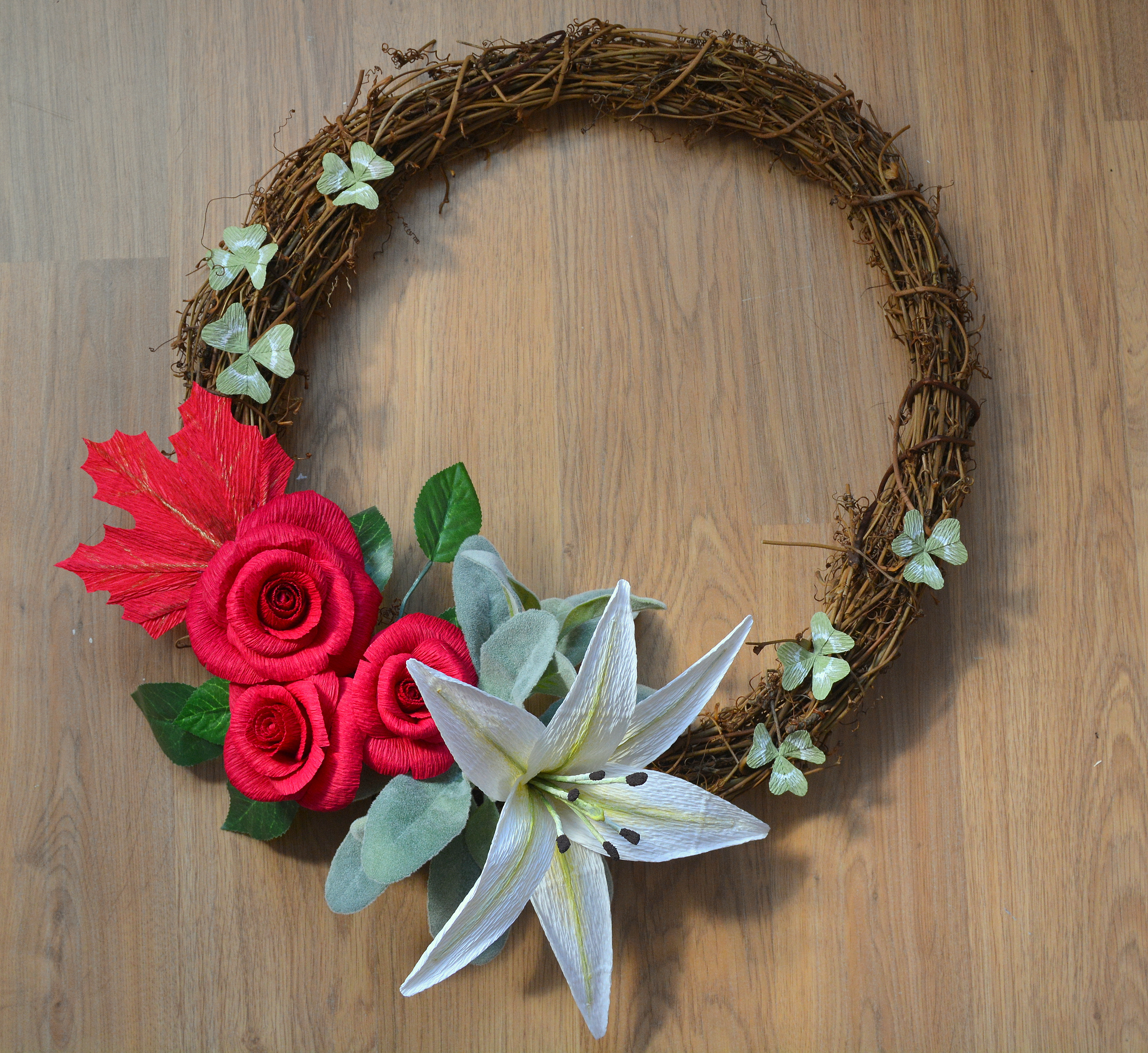 Paper flower and willow wreath