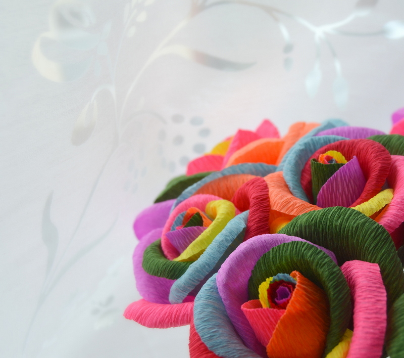 Handmade rainbow roses
